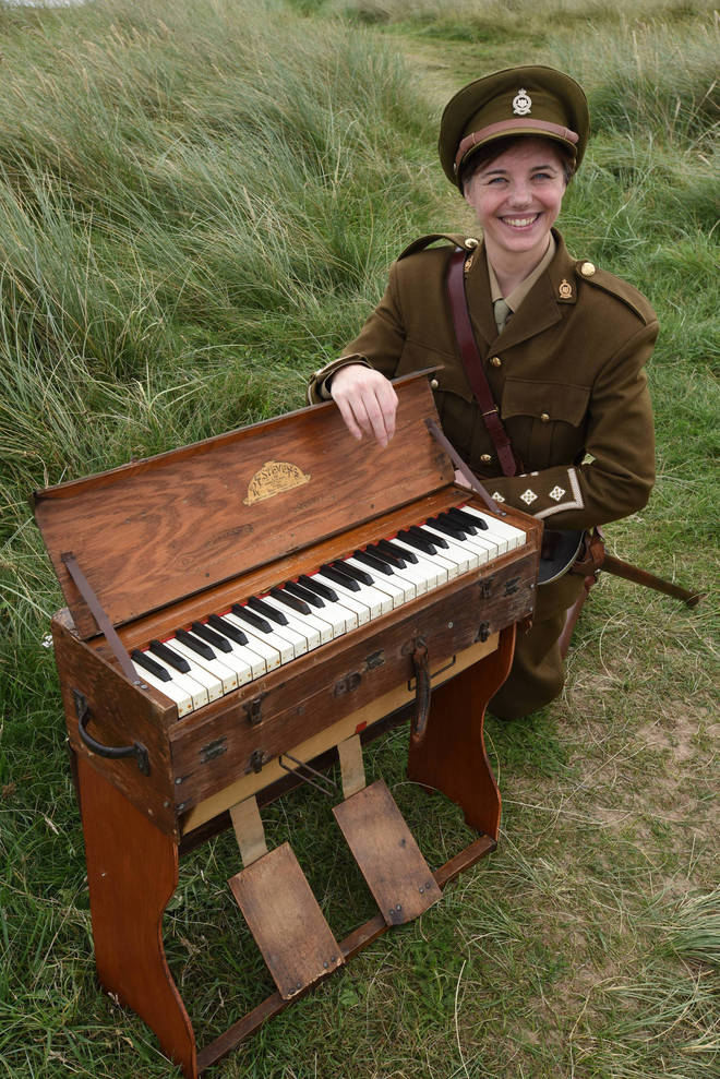 Beverley Palin with a 100-year-old trench organ