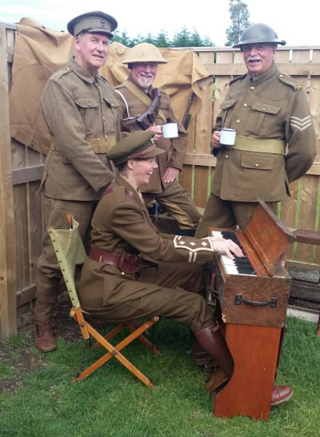 Beverley performs in full authentic military gear