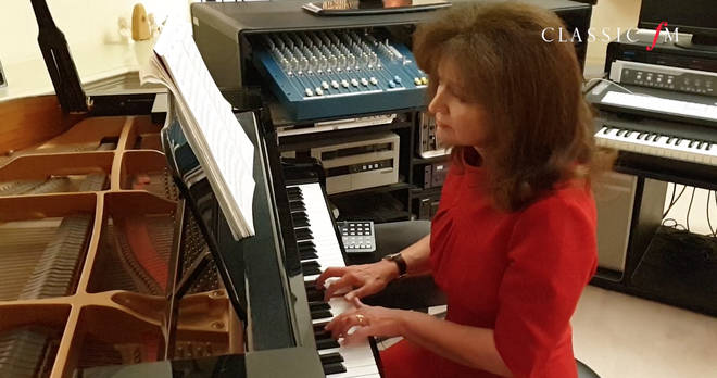 Composer Debbie Wiseman performs her piece, Together, at her home studio.