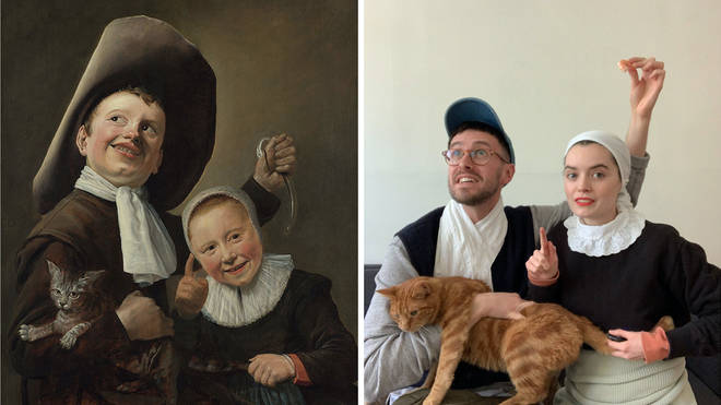 National Gallery workers are recreating famous works of art to make quarantine bearable