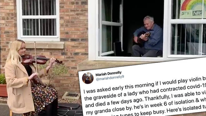 Violinist surprises self-isolating grandad, they play a window duet together