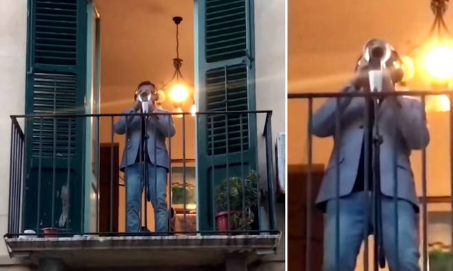 Trumpeter playing 'The Circle of Life' from his balcony to the empty streets of Italy is a whole lockdown vibe