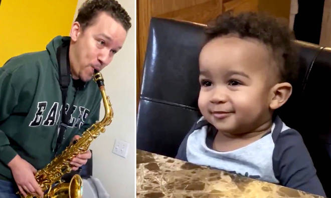 Watch this little boy's heartwarming reaction to his grandpa playing the saxophone