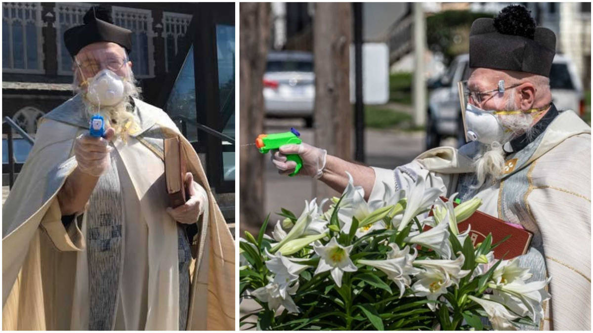 Priest blesses worshippers by squirting them with holy water in socially distanced service