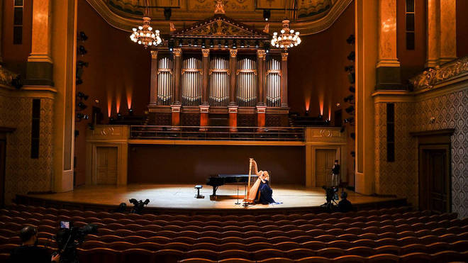 Harpist Jana Boušková (harp) performs at a benefit concert 'without an audience' given by Czech Philharmonic