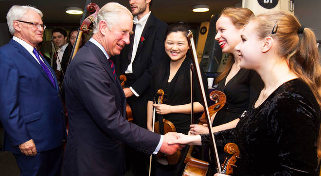 HRH The Prince of Wales meets with young musicians from his patron orchestras