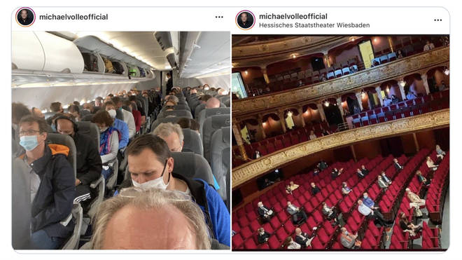 Social distancing in aircrafts vs. opera houses