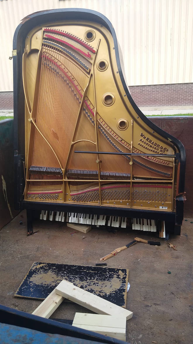 "Dean May, the piano technician who discovered the discarded piano in a dumpset, said it had ""nothing wrong with it""."