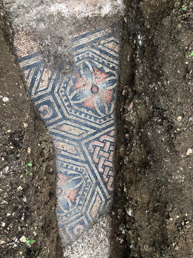 The ancient flooring was discovered by archaeologist during a planned dig