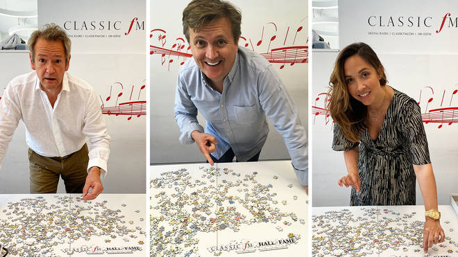 Classic FM presenters Alexander Armstrong, Myleene Klass and Aled Jones have a go at the lmited edition jigsaw puzzle celebrating 25 years of the Classic FM Hall of Fame.