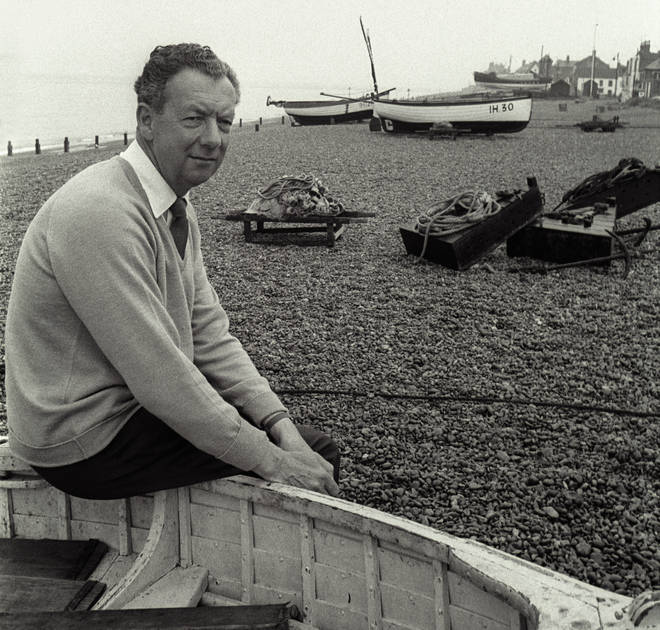 Sir Benjamin Britten on Aldeburgh Beach