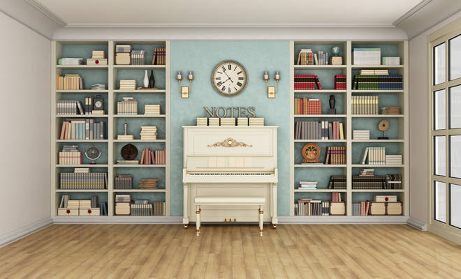 Piano and bookcase