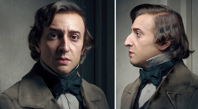 A visual artist has created a 3D rendering of Frédéric Chopin's face