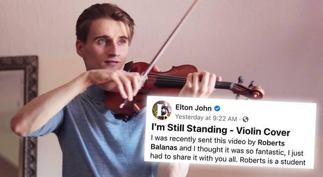 Elton John shares 'I'm Still Standing' violin cover by Latvian violinist Roberts Balanas