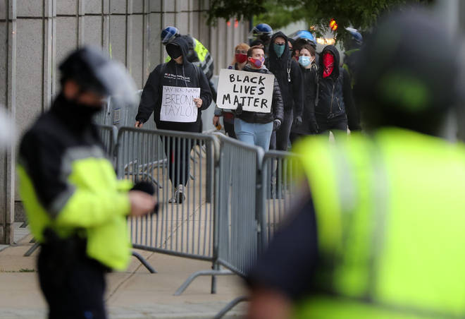Boston Police stand by during anti-racism and police brutality protests