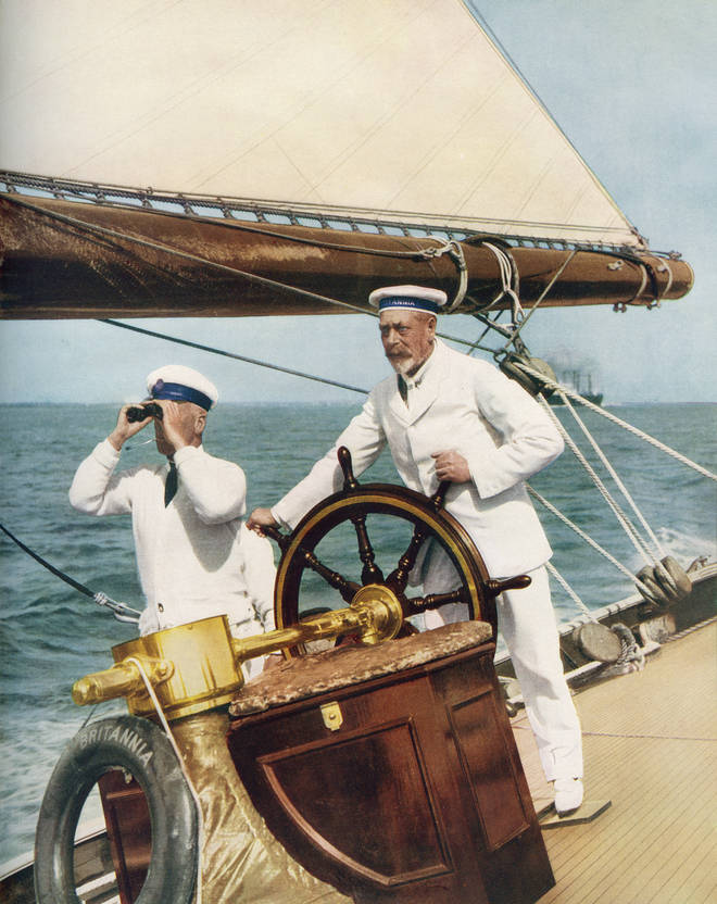 King George V on his yacht, Britannia