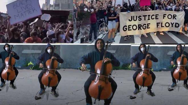 New York cellist Yves Dharamraj has performs a five-part version of aria 'Dido's Lament' to protest against police violence