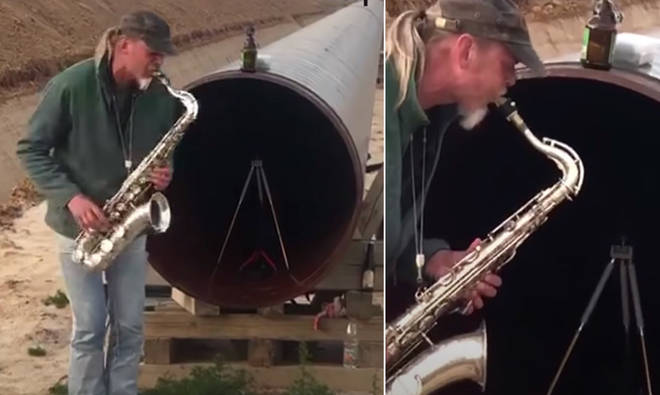 Saxophonist plays into pipeline and creates catchy tune