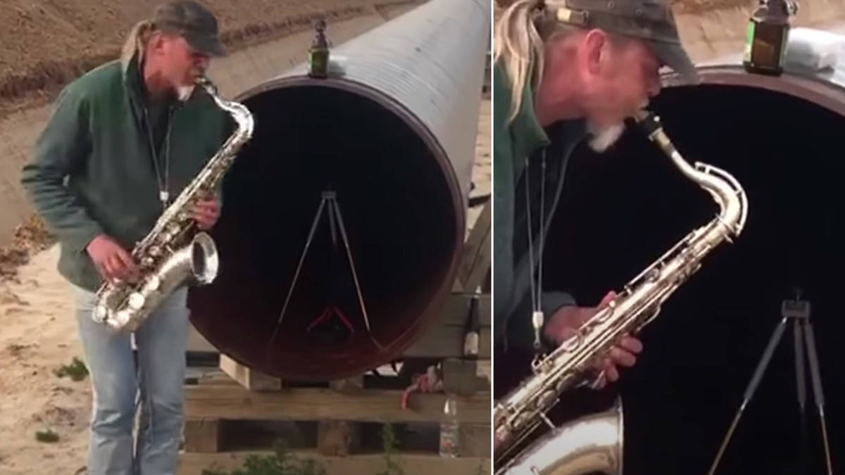 Saxophonist plays into giant industrial pipe to play a duet with his own echo