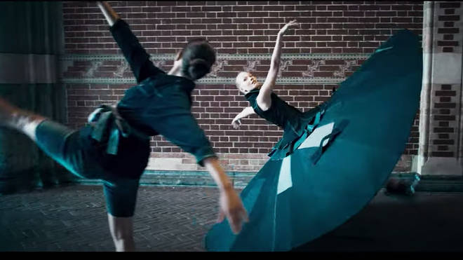 Ballet dancer demonstrates social distancing with a three-meter tutu