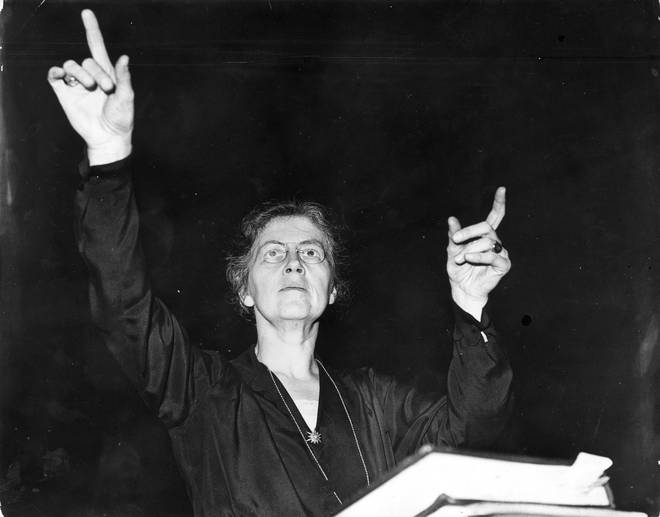 Nadia Boulanger conducting the orchestra of the Royal Philharmonic Society during a rehearsal at Queen's Hall in London