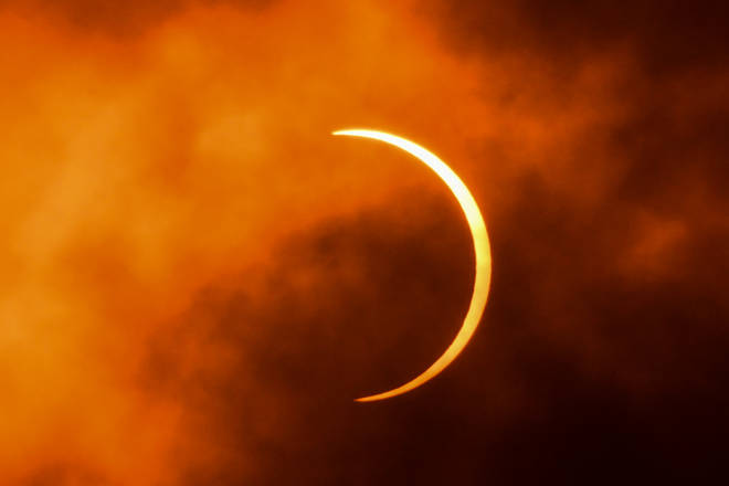 The partially obscured sun captured in New Delhi during yesterday's rare annular solar eclipse