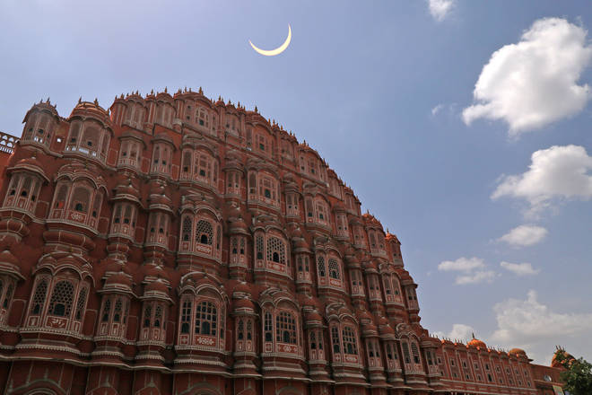 The annular solar eclipse as seen in Jaipur yesterday