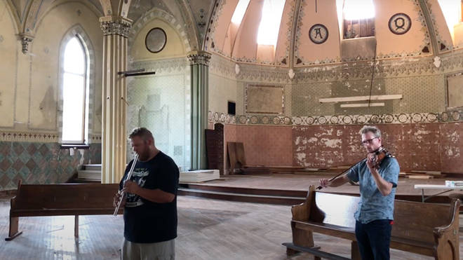 Two musicians find an abandoned US church