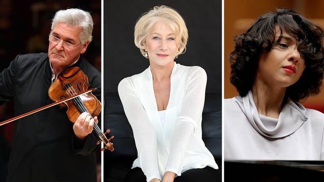 Watch violinist Pinchas Zukerman, actor Helen Mirren and pianist Khatia Buniatishvili in Israel Philharmonic Orchestra's global gala concert