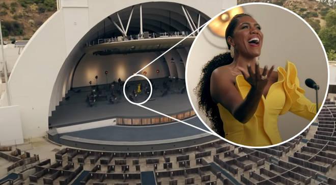 J'Nai Bridges sings to an empty stadium