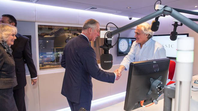 HRH The Prince of Wales and HRH The Duchess of Cornwall meet presenter John Suchet in the Classic FM studio.