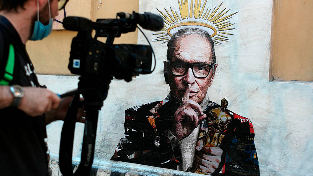 Poignant Ennio Morricone street art appears in Rome, a day after the film composer's death