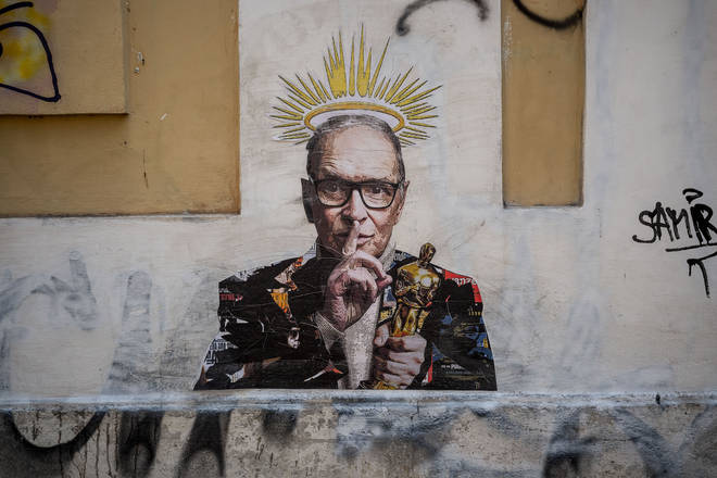 Ennio Morricone, immortalised on the streets of his beloved Rome.