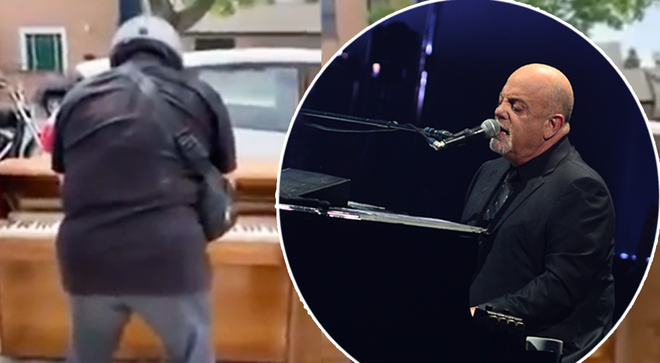 Billy Joel spotted in the street playing discarded wooden piano
