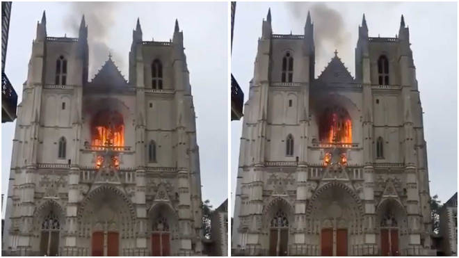 Fire at Nantes Cathedral in France