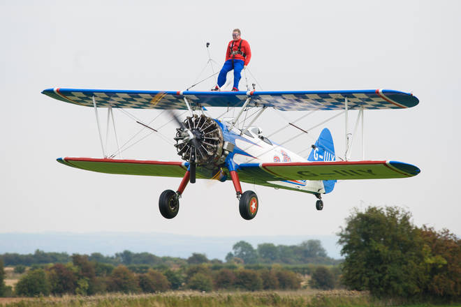 Aled Jones wing walking for Global's Make Some Noise