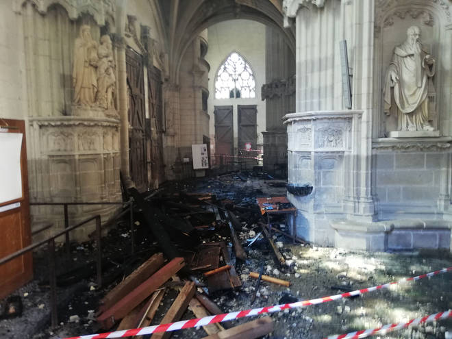 The remains of the burnt organ at the Saint-Pierre-et-Saint-Paul cathedral in Nantes
