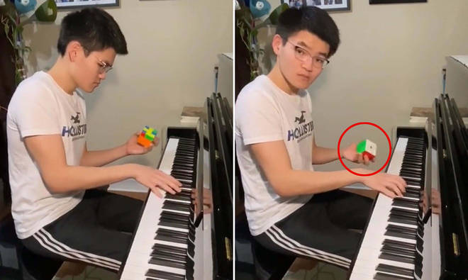 Pianist solves a Rubik's Cube while playing the piano