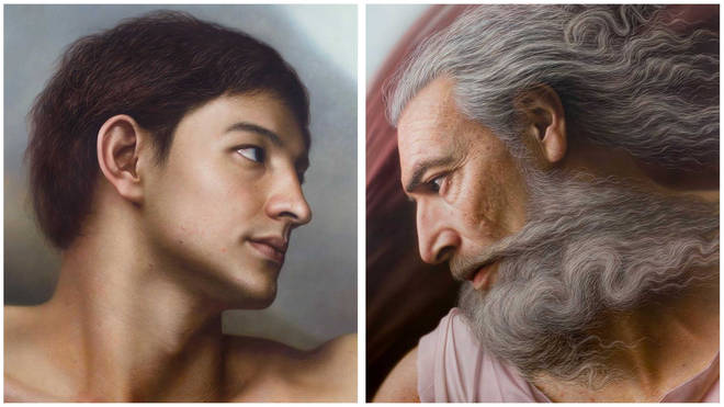 Artist creates realistic portraits of famous figures