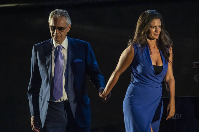 Bocelli and wife Veronica Berti attend a presentation of the show 'The Virus That Drives Us Mad'