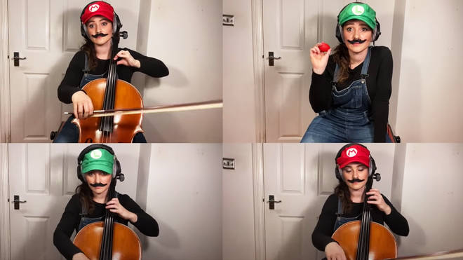 Super Mario Bros in a version for three cellos and one egg shaker cellist Samara Ginsberg