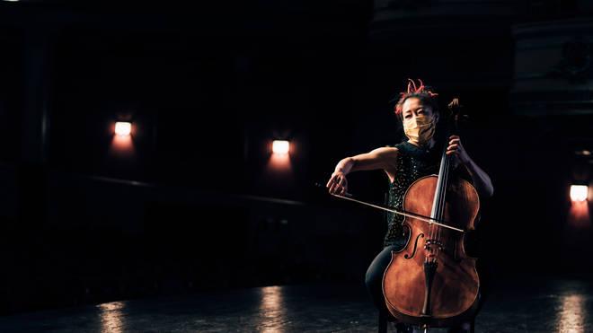 Scottish Chamber Orchestra cellist Su-a Lee performs in an empty Edinburgh Festival Theatre for Edinburgh International Festival's 2020 digital edition