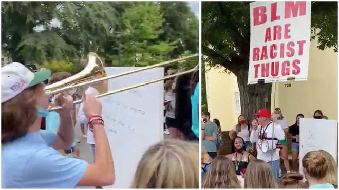 Trombone Guy at a protest
