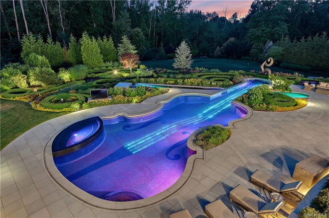 The violin-shaped feature is a 50,000-gallon pool