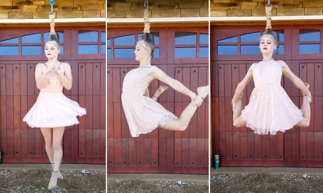 Ballet dancer spins in mid-air suspended by her hair