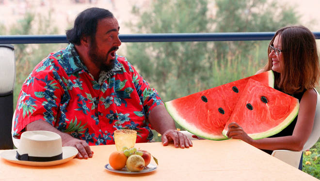 These pictures of Pavarotti with watermelons are a vibe
