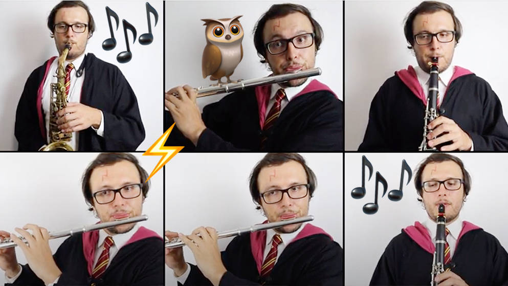 Harry Potter super-fan uses every woodwind instrument at his disposal in a John Williams anthem for the ages