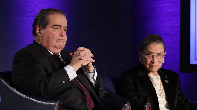 Supreme Court Justices Ruth Bader Ginsburg and Antonin Scalia in 2014.