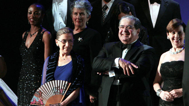 Ruth Bader Ginsberg and Justice Antonin Scalia appear on stage with Washington National Opera for opening night of the 2009 production of 'Ariadne auf Naxos'.