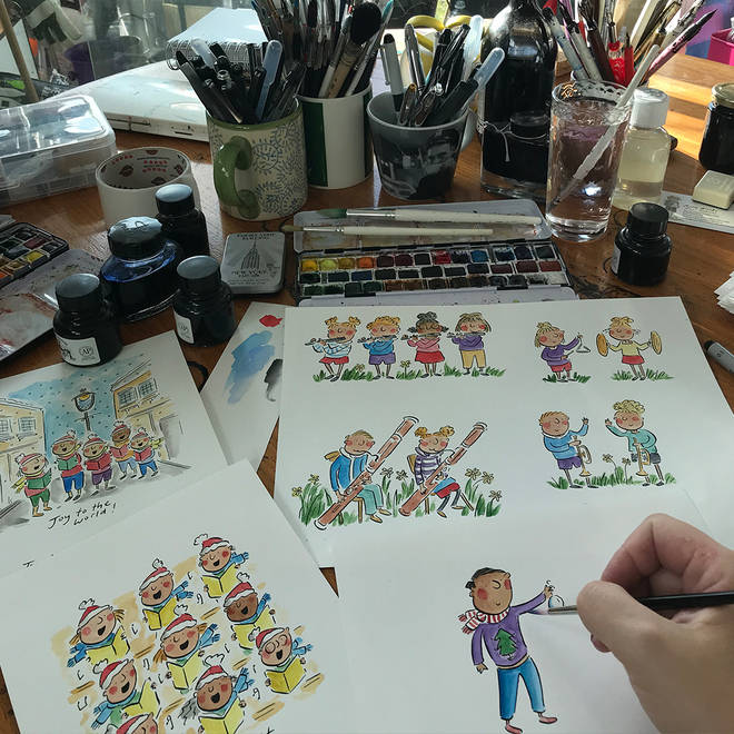 Illustrator Rosie Brooks has penned for exclusive, Christmas carol-themed cards for Classic FM's charity, Global's Make Some Noise.